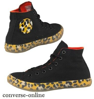 Womens Girls CONVERSE All Star Black LEOPARD HIGH TOP Trainers Boots SIZE UK 3.5