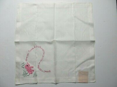 Vtg Odette Barsa Lingerie Advertising Handkerchief Embroidered Pink White  #0475