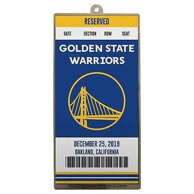Golden State Warriors Metal Ticket Basketball Christmas Tree Holiday Ornament