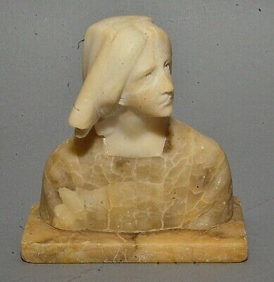 Small Antique Italian Renaissance Revival Carved Alabaster Bust of Peasant Girl