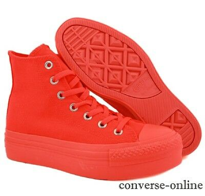 Womens Girls CONVERSE All Star PLATFORM High Top Orange Trainers Boots SIZE UK 3