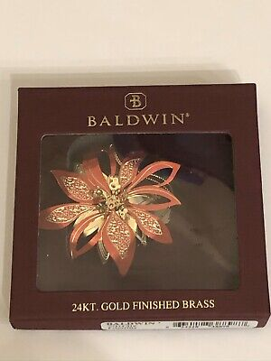 New Baldwin Red Poinsettia Flower Christmas Ornament 24k Gold Finished Brass 3D