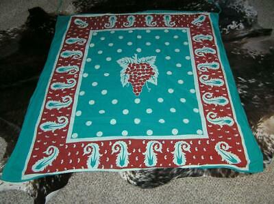 """Heirloom 1940's Screen Print Grape Green Red Cotton Tablecloth 46"""" x 50"""""""