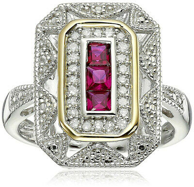 Silver and 14k Yellow Gold Sapphire and Diamond Art Deco-Style Ring size 10