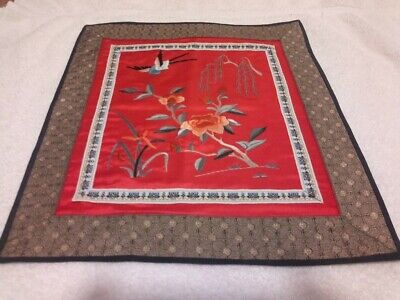 Red Rectangle Asian Silk Floral Bird Embroidery Tapestry NEW