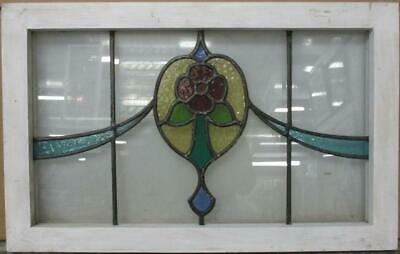 "OLD ENGLISH LEADED STAINED GLASS WINDOW TRANSOM Nice Floral Sweep 27.75"" x 17.5"""