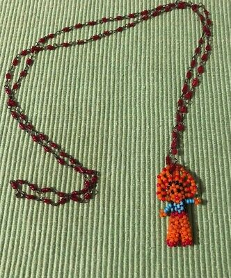 Native American Seed Bead Kachina Doll Necklace Vintage Long Chain