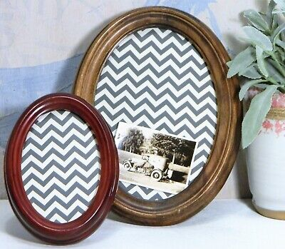 Picture/Photo Frame/Wood/Oval/Mahogany/Walnut Stain/Easel Back/Cottage Chic/ 2