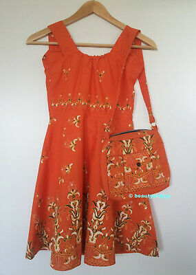 Vintage 70s Batik Dress with Beautiful Bag Cute Very Pretty