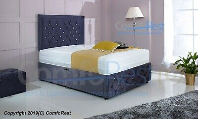 "PLUSH VELVET CHESTERFIELD DIVAN BED SET + MEMORY MATTRESS + 30"" i-Bex Headboard"