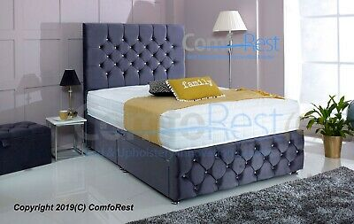 PLUSH VELVET CHESTERFIELD DIVAN BED SET + MEMORY MATTRESS 4FT6 Double 5FT King