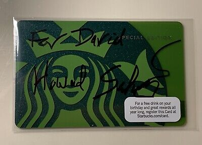 Signed By CEO HOWARD SCHULTZ Starbucks 2010 Card Green Siren Special Edition HTF