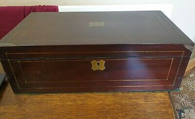 antique large mahogany and brass WRITING SLOPE BOX