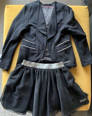 Gorgeous Girls Black DKNY Skirt And Jacket Outfit Age 6 - Christmas Party