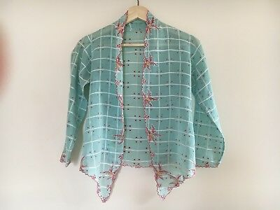 Vintage 1970s Embroidered Scalloped Floral Check Blouse Top Jacket XS