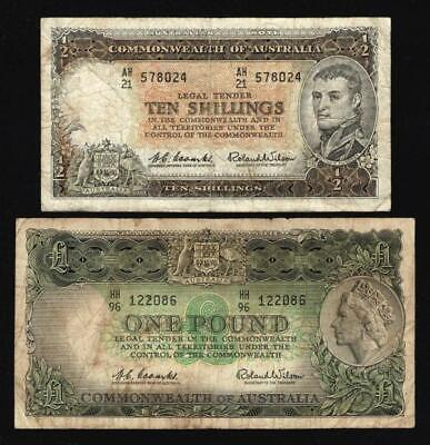 1961 AUSTRALIAN 10 SHILLING  and 1961 ONE POUND PREDECIMAL NOTES..NO RESERVE.