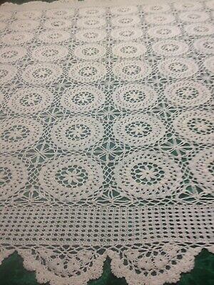 Vintage Crochet Tablecloth, White In Ex.cond. Square