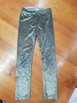 H & M  HM Girls Gold Velour Velvet Leggings Size 8