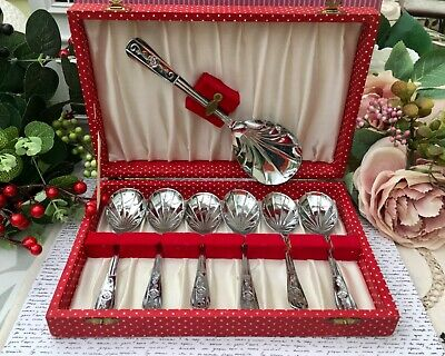 Vintage 7Pce Shell Fruit Spoon Set Red Spot Box Stainless Sheffield Chrome Plate