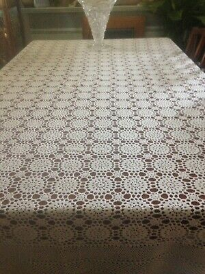 Beautiful Large Crochet Table Cloth, Ecru, In Exc.cond. App 180 X 214cm