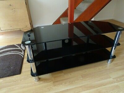 3 Tiers Tempered Glass TV Stand Black Top Cabinet Table Unit with Storage Shelf