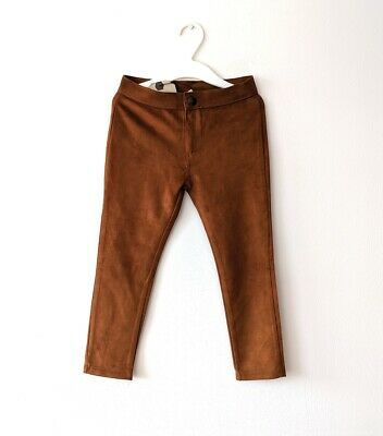 Brand New Zara Girls Faux Suede Trousers Leggings Pants 5YRS Brown BNWT