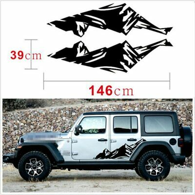Car Vinyl Mountain Graphic Side Skirt Wrap Decal Sticker Exterior Jeep Wrangler