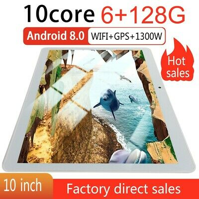 "10"" Inch Android 8.0 10 Core 6+128GB Tablet PC Dual Cam bluetooth G-sensor WiFi"