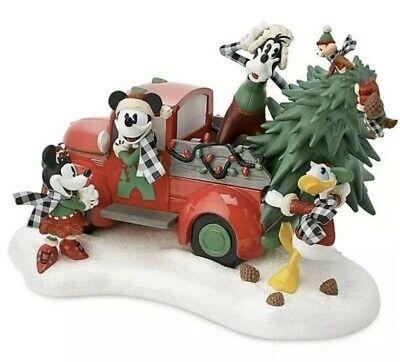 Disney Yuletide Farmhouse Mickey Light-Up Red Truck Christmas Holiday Figurine