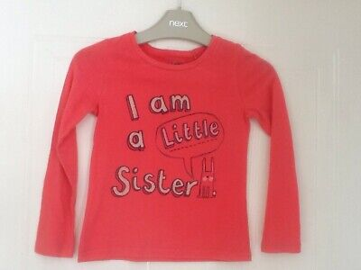 Next Girls 3-4 Y Pink Bunny Rabbit Long Sleeved Top I Am A Little Sister VGC
