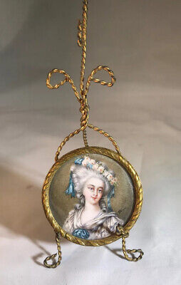 Antique Portrait Miniature French On Delicate Vintage Brass Wire Stand Signed