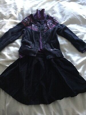 jojo maman bebe 4-6 Yrs Cardigan, Polo And Cord Skirt