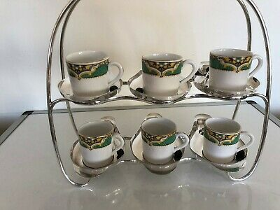 Silver Plated Coffee Cup Stand With 6 Demi Tasse Cups,Epns Saucers & Bean Spoons