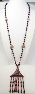 "Art Deco Neiger Czech Glass Egyptian Revival Mahogany Red Necklace 24 ¼"" Drop"