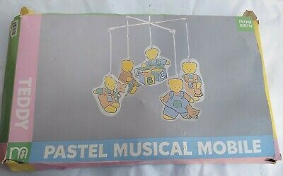 Vintage mother care teddy pastel musical cot mobile Boxed From Birth