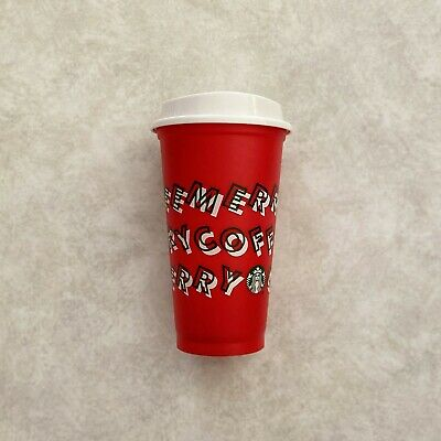 NEW Starbucks Holiday Christmas 2019 Red White Green Reusable Cup 16 oz & Lid