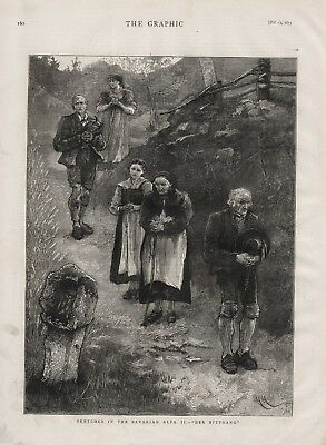 OLD 1875 PRINT SKETCHES IN THE BAVARIAN ALPS DER BITTGANG  PRAYER WALK b41