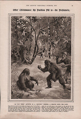 OLD 1918 PRINT OTHER CHRISTMASES THE PREHISTORIC PLAY SCENE PAVILION THEATRE b12
