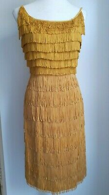 Vintage 1950s 1960s Does 1920s Size S Uk8-10 Tassle Flapper Dress Mod Gogo Gold