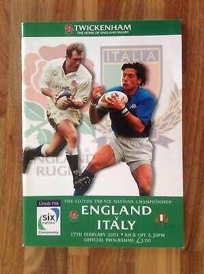England V Italy Six Nations Rugby Union Programme 2001.