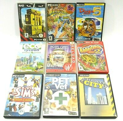 Job Lot PC DVD CD Rom 9 x Games - Rollercoaster Tycoon Create City Sims