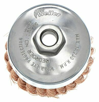 "Weiler 4"" Knotted Wire Cup Brush, Arbor Hole Mounting, 0.020"" Wire Dia. 1-1/4"""