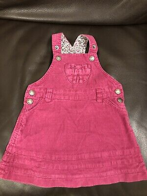 Jojo Maman Bebe Raspberry Pink Cord Pinafore Dungaree Dress Age 12-18 months