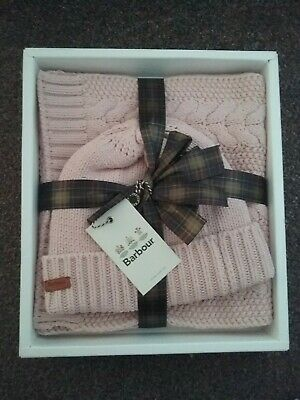 Barbour Womens Hat & Scarf Gift Set Pink Cable Knit Winter NEW