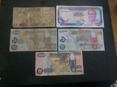 Zambia 5 different banknotes