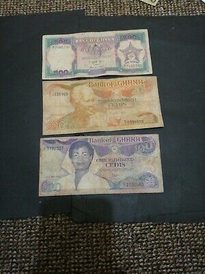 Ghana 3 different banknotes 1980s