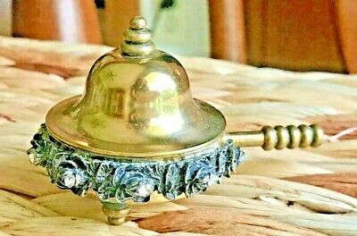 Unique Silent Butler, Snuff Box, Round Footed Ornate w Brass Dome Lid & Handle