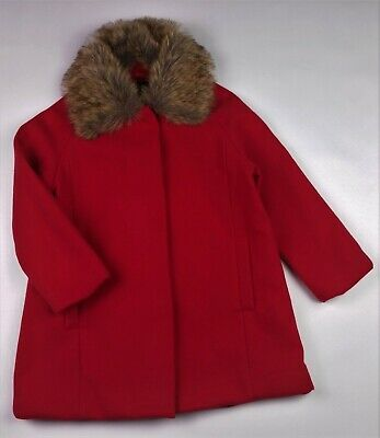 Girls JASPER CONRAN Red Smart Coat Jacket Detachable Faux Fur Collar 6 Years NWT