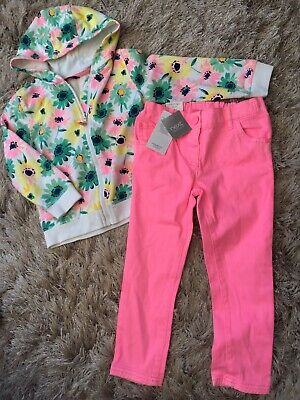 George @ Asda 3-4 Y  White Green Pink Yellow Floral Hoody Jumper Top Combine P&P