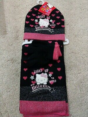BNWT Hello Kitty Black Pink Hearts Hat Scarf Gloves Set 4-8 Years